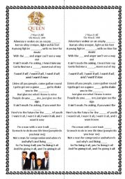 English Worksheets: Queen -- I want it all. With grammar and lexica