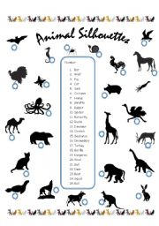 English Worksheets: Animal Sillouettes