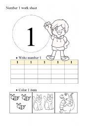 English worksheet: Number 1 work sheet