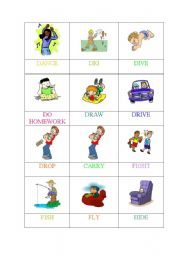 English Worksheets: ACTIONS-Memory GAME (1 OF 6)