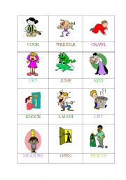 English Worksheets: ACTIONS (3 OF 6) -MEMORY GAME/PELMANISM