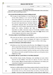 English Worksheet: test about advertising