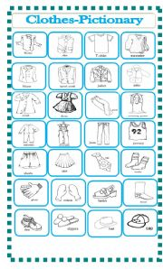 English Worksheet: clothes-pictionary