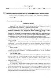 Worksheets Career Worksheets english teaching worksheets careers in music test