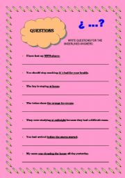 English Worksheets: Ask for the underlined