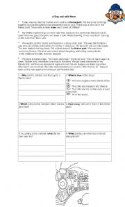 English Worksheets: A Day out with Mom