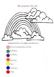 English Worksheet: My rainbow!