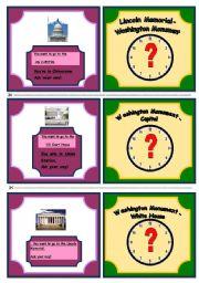 English Worksheet: Washington direction cards