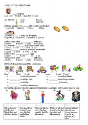 English Worksheets: Countales uncountables,P.continuous,matching exercises