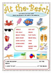 at the beach vocab bulider for beginners with 2 simple