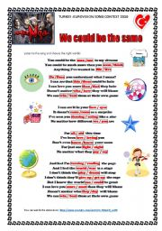 English Worksheet: TURKEY EUROVISION SONG CONTEST 2010: MANGA- WE COULD BE THE SAME