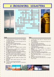 English Worksheets: A crossword: DISASTERS