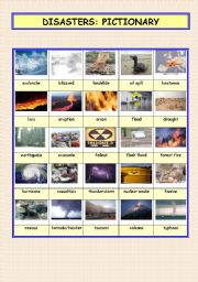 English Worksheets: Disasters pictionary