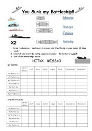 English Worksheets: You sunk my Battleship