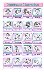 English Worksheet: Gestures Charades GAME
