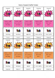 English Worksheets: Parts of Speech Raffle Tickets (40 tickets in all)