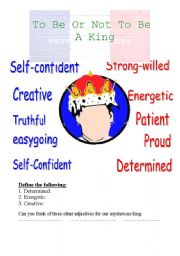 English worksheet: To be or not to be a king