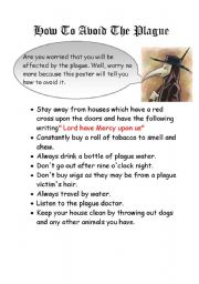 English worksheet: How to avoid the plague