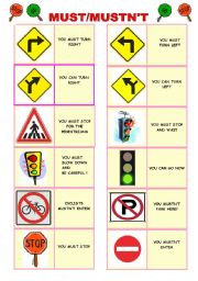 must / mustn´t traffic rules pictionary