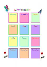 Birthday Chart for your classroom