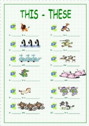 English Worksheets: This - These + animals (part 1)