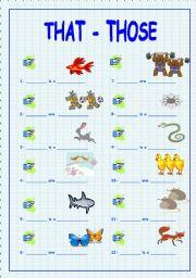 English worksheet: That / Those + Animals (part 2)
