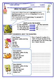 English Worksheet: my favourite cartoon character