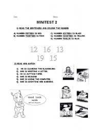 English Worksheets: Numbers 10 - 20 and school actions