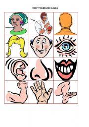 English Worksheet: body vocabulary games