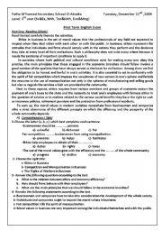 English Worksheet: Evaluation Paper : Ethics