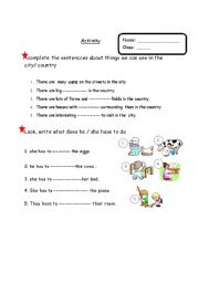 English Worksheet: a worksheet about activities related to city or country life
