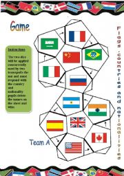 English Worksheet: game about flags,countries and nationalities