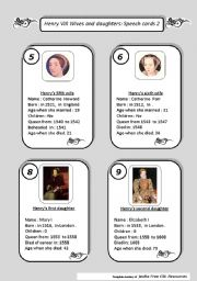 Henry VIII Wives  and daughters : SPEECH CARDS PART 2