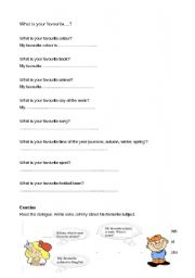 English Worksheet: What is your favourite (book/ day of the week/ animal)