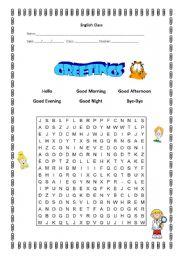 English Worksheets: Greetings - wordsearch