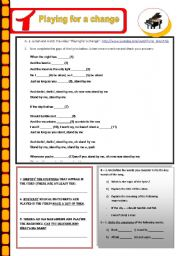 English Worksheet: Topic: a world of many languages - Playing for a change/