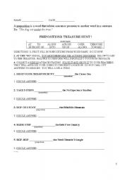 English worksheet: Prepositions Treasure Hunt with Riddles
