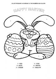 English Worksheet: COLOR THE EASTER BUNNY