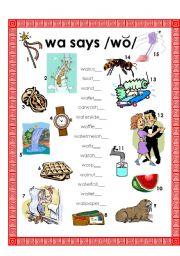 Wa Says Wo W Changes Vowel Sound When B4 Vowel A Esl
