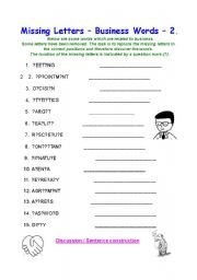 English Worksheets: Missing Letters - Business Words 2.