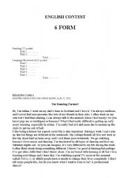 English Worksheet: 6th form English contest