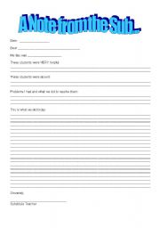 Printables Substitute Teacher Worksheets english worksheets note from a substitute teacher worksheet teacher