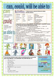 English Worksheets: can, could, will be able to