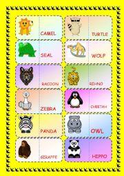 English Worksheet: ZOO ANIMALS DOMINOE GAME
