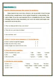 English Worksheets: Different simple comprehension