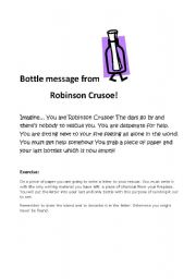 English Worksheet: Bottle message from Robinson Crusoe