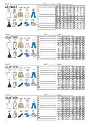Clothes wordserach