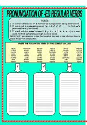 English Worksheet: PRONUNCIATION OF -ED REGULAR VERBS