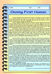 English Worksheet: Science /technology / Cloning