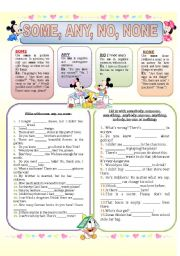English Worksheet: SOME, ANY, NO, NONE (explanations and exercises)